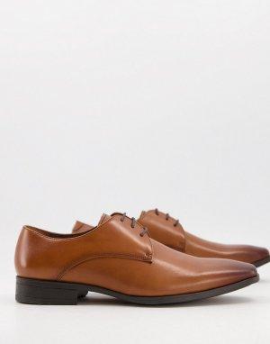 Светло-коричневые кожаные туфли дерби Micro-Коричневый цвет Office