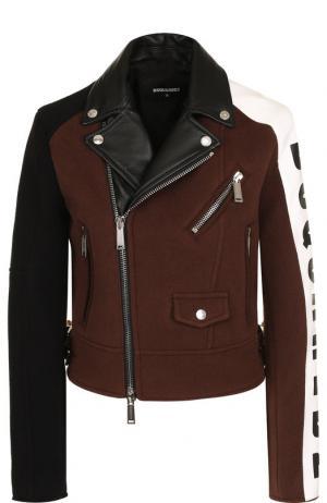 Шерстяная куртка на молнии с кожаной отделкой Dsquared2. Цвет: коричневый