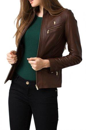 Куртка кожаная U.S. Polo Assn.. Цвет: 880 коричневый