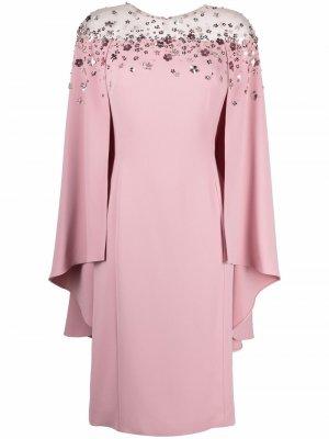 Платье с цветочным декором Jenny Packham. Цвет: розовый