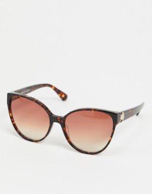Круглые солнцезащитные очки в черепаховой оправе -Коричневый Kate Spade