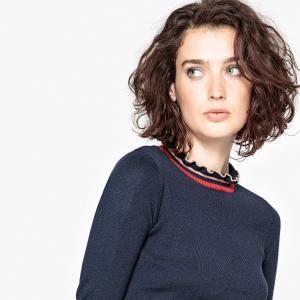 Пуловер с воланами и декоративными элементами в виде полосок LA REDOUTE COLLECTIONS. Цвет: синий морской