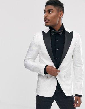 Белый приталенный пиджак с кружевной накладкой Devils Advocate