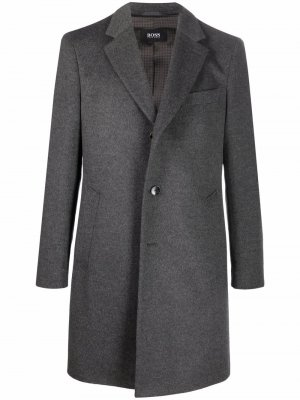 Single-breasted virgin wool-blend coat Boss Hugo. Цвет: серый