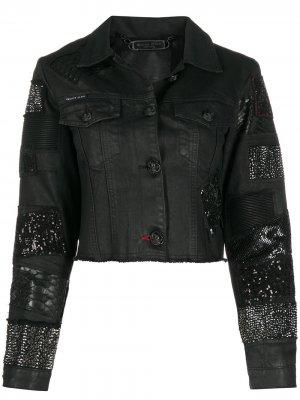 Декорированная укороченная джинсовая куртка Philipp Plein. Цвет: черный
