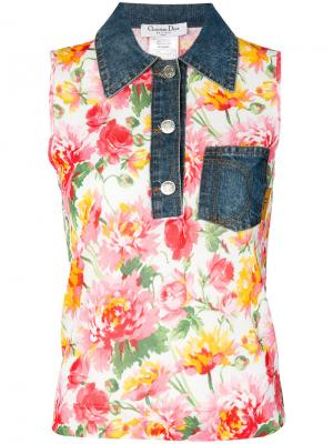 Топ с цветочным узором и джинсовым воротником Christian Dior. Цвет: белый