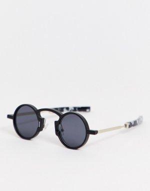 Круглые солнцезащитные очки черного цвета -Черный Spitfire