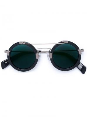 Солнцезащитные очки в круглой оправе Yohji Yamamoto. Цвет: синий