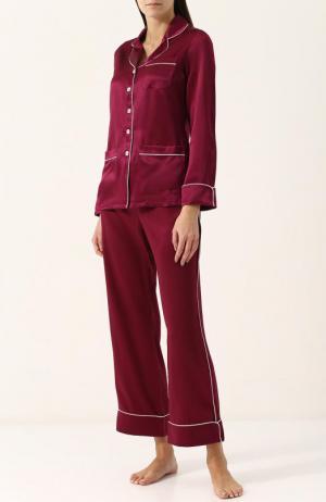 Шелковая пижама с контрастной отделкой Olivia Von Halle. Цвет: бордовый