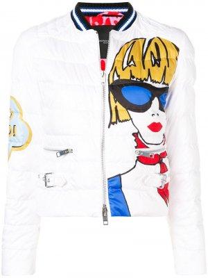 Куртка-бомбер с принтом женщины Ermanno Scervino. Цвет: белый