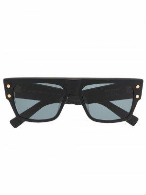 Солнцезащитные очки B-III в квадратной оправе Balmain Eyewear. Цвет: черный