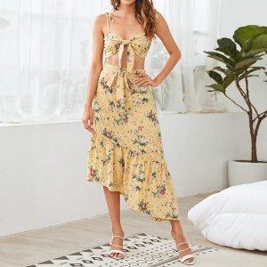 Майка с узлом и юбка поясом, цветочным принтом SHEIN. Цвет: жёлтые