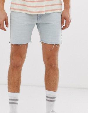 Светлые джинсовые шорты с необработанными краями -Синий Bellfield
