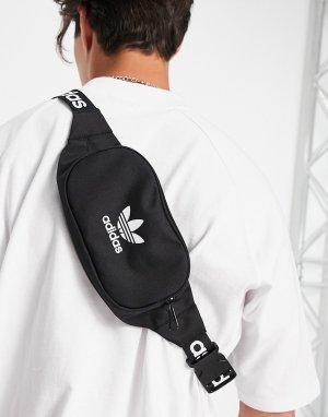 Черная сумка-кошелек на пояс с фирменным ремешком Adicolor-Черный цвет adidas Originals
