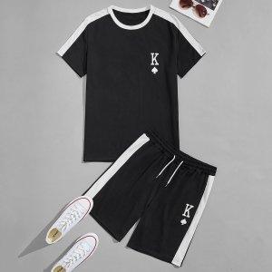 Мужская контрастная футболка и шорты с текстовым принтом SHEIN. Цвет: чёрный