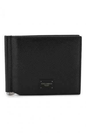 Кожаный зажим для денег Dolce & Gabbana. Цвет: чёрный