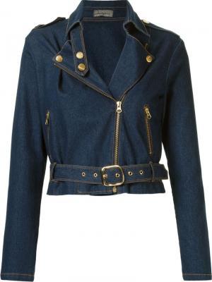 Джинсовая куртка с ремнем Amapô. Цвет: синий