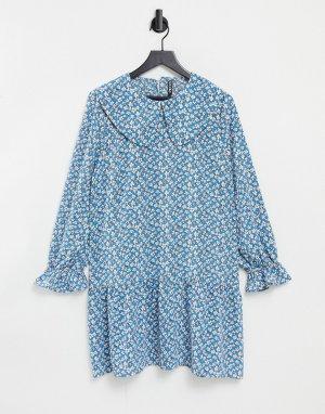 Голубое свободное платье мини с большим воротником и мелким цветочным принтом -Многоцветный Pieces