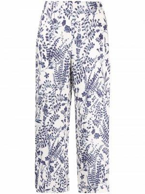 Укороченные брюки с цветочным принтом Les Copains. Цвет: белый