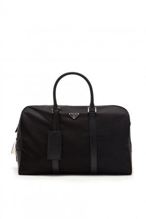 Черная дорожная сумка из нейлона Prada. Цвет: черный