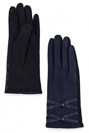 Темно-синие трикотажные перчатки Marco Bonne`. Цвет: синий