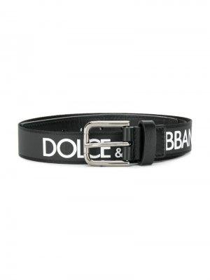 Ремень с логотипом на пряжке Dolce & Gabbana Kids. Цвет: черный