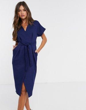 Темно-синее платье миди с запахом и поясом -Темно-синий Closet London