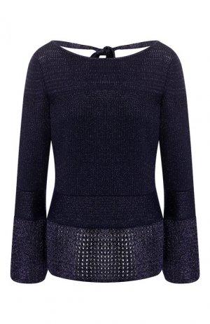 Пуловер из смеси шерсти и вискозы St. John. Цвет: темно-синий