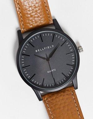 Мужские часы с черным циферблатом и светло-коричневым кожаным ремешком -Черный цвет Bellfield
