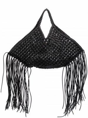 Большая плетеная сумка Yuzefi. Цвет: черный