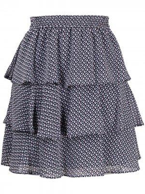 Ярусная юбка мини с цветочным принтом Michael Kors. Цвет: синий