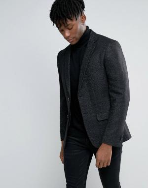 Черный шерстяной блейзер в крапинку New Look. Цвет: черный
