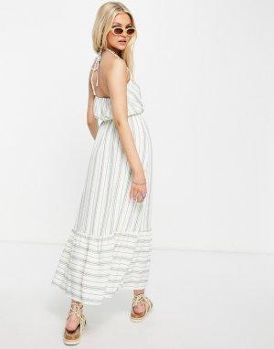 Платье миди в полоску с завязкой на шее -Белый Gilli