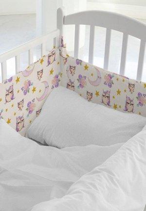 Бортик для детской кровати Juno Cute owls. Цвет: бежевый