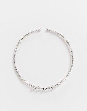 Ожерелье-чокер с искусственным жемчугом и стразами -Серебряный True Decadence