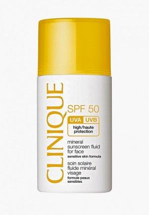 Сыворотка для лица Clinique Солнцезащитная минеральная Mineral Sunscreen Fluid For Face SPF 50. Цвет: белый