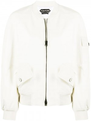 Укороченная куртка бомбер с накладными карманами TOM FORD. Цвет: белый