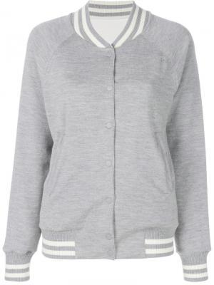 Куртка-бомбер двухсторонней вязки Karl Lagerfeld. Цвет: серый
