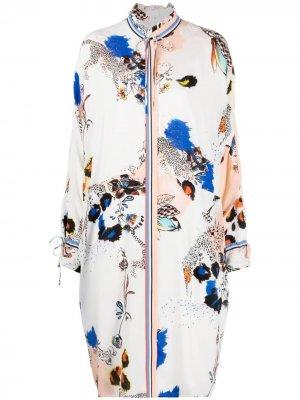 Куртка-рубашка с цветочным принтом Lala Berlin. Цвет: белый