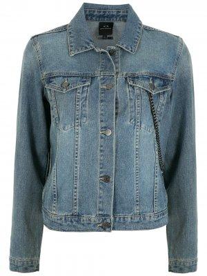 Джинсовая куртка с цепочками Armani Exchange. Цвет: синий