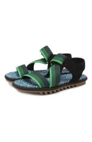 Текстильные сандалии Dries Van Noten. Цвет: зелёный
