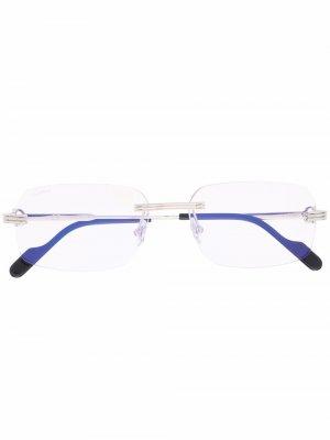 Очки в квадратной оправе Cartier Eyewear. Цвет: серебристый