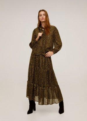 Струящаяся блузка леопард - Lyon Mango. Цвет: коричневый