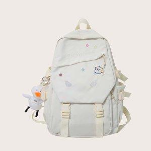 Детский рюкзак большой емкости с куклой SHEIN. Цвет: белый