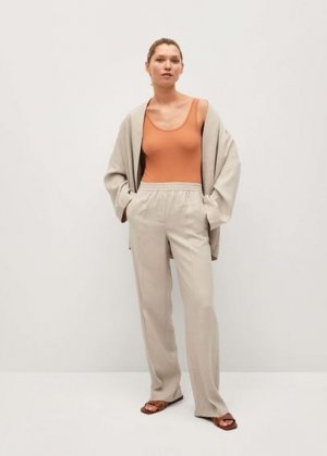 Прямые брюки из струящейся ткани - Kimo Mango. Цвет: экрю