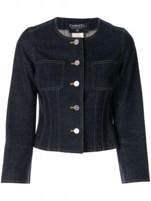 Джинсовая куртка на пуговицах без воротника Chanel Pre-Owned. Цвет: синий