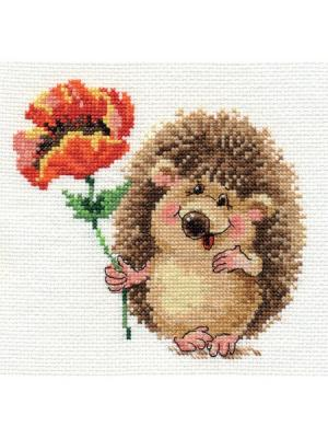 Набор для вышивания Ежик с маком  14х13 см. Алиса. Цвет: коричневый, красный, светло-коричневый