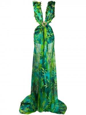 Длинное платье с принтом Versace. Цвет: зеленый