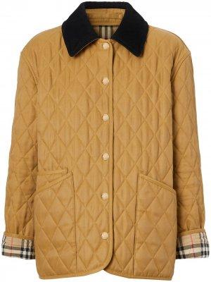 Стеганая куртка с вельветовым воротником Burberry. Цвет: коричневый