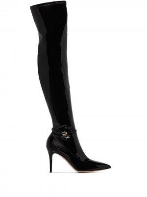 Ribbon 85mm thigh-high boots Gianvito Rossi. Цвет: черный